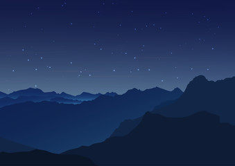 Vector background. Starry night sky. Stars, sky, night. Silhouette of the mountains