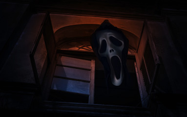 Ghost scream over old ancient window castle, Spooky background,