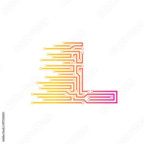 Letter L logo design template,technology,electronics,digital ...