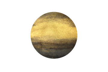 Golden gouache and watercolor circle hand drawn isolated on white background. Element, symbol of feng shui in flat design: metal. Wall mural