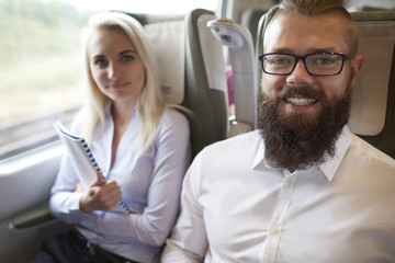 Portrait of business team in the train