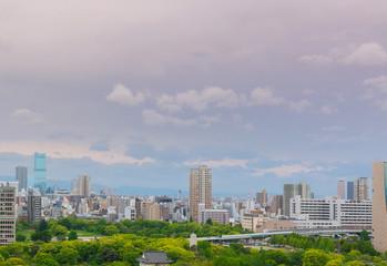 Cityscape and Skyline of Osaka city in Japan