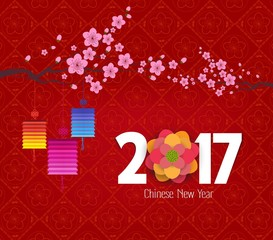 Chinese new year 2017, background with lantern and plum blossom