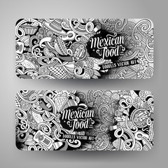Cartoon mexican food doodles banners
