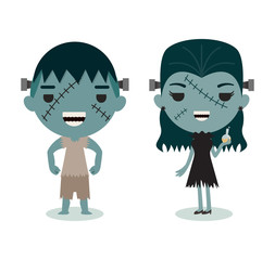 halloween characters, Mr. and Mrs. Frankenstein on white backgro