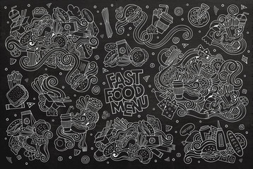 Fast food doodles hand drawn chalk board vector symbols