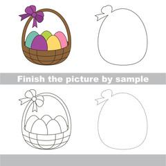 Easter backet. Drawing worksheet.