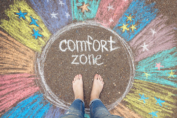 Comfort zone concept. Feet standing inside comfort zone circle.