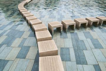 stone water walkway steps