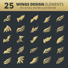 Wings. Vector Set of wing design elements. Vector illustration. Design for logo, tattoo and luxury brand identity