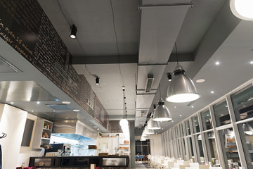 Commercial ventilation system in modern restaurant