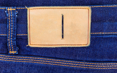 blank leather label on jeans background