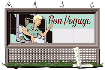Girl in the train. Start travel. Bon Voyage.