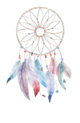 Isolated Watercolor decoration dreamcatcher with beads and boho