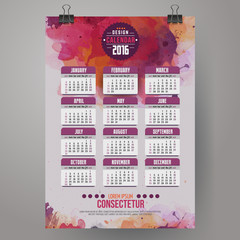 2016 Year Calendar with watercolor paint background