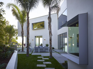 White exterior of a modern house in California, USA