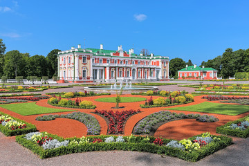 Kadriorg Palace and flower garden with fountains in Tallinn, Estonia. Kadriorg Palace is a Petrine Baroque palace built for Catherine I of Russia by Peter the Great in 1718-1727.