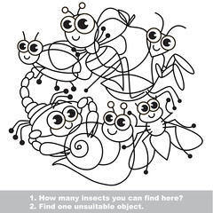 Cute insects. The simple mishmash set in vector.