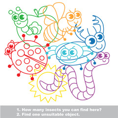 Cute funny insects mishmash colorful set in vector.