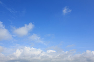 Beautiful white clouds and Bright blue sky in the moring.
