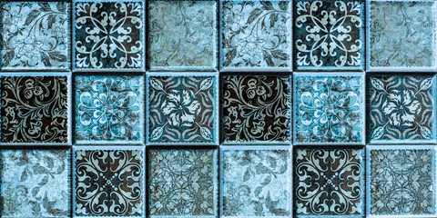 Wall Mural - tiles with colored mosaics, mosaic pattern