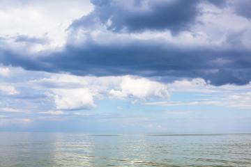 dark blue rain clouds over Sea of Azov