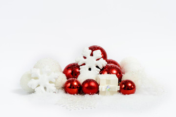Christmas decoration composition in red and white. New Year 2016 colorful decor