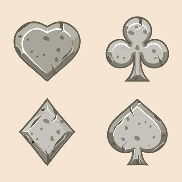 Vector set illustration stone icons of playings cards