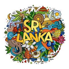 Sri Lanka hand lettering and doodles elements