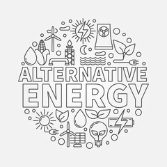 Alternative energy round vector illustration