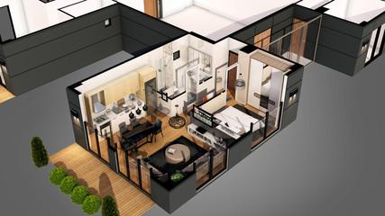 3d render of the resitental building floor plan
