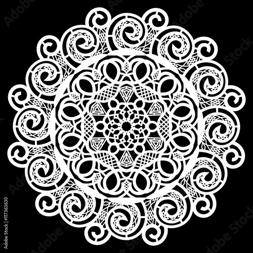 Lace round paper doily, lacy snowflake, greeting element package ...