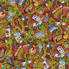 Cartoon vector art and craft seamless pattern