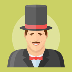 Man with mustache in top hat flat icon. Magician vector illustration. Male character.