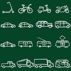 Vector Set of Chalk Doodle Ground Transportation Icons