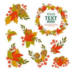 Autumn object background with fall leaf vector illustration
