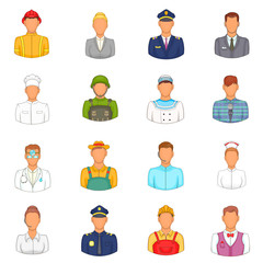 Professions icons set in cartoon style. People set isolated vector illustration