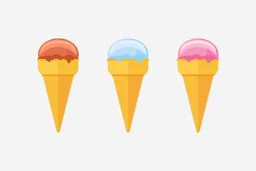Set of various ice cream cones isolated on white background. Flat style vector illustration.