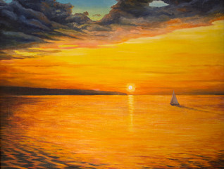 Sunset on the lake. Sailing yacht sailing on calm water .Painting
