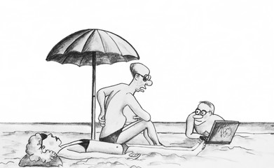 "Pencil drawing.On the beach the man says,""Annoy me flat things"""