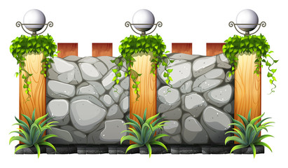 Brick wall with lamp and grass