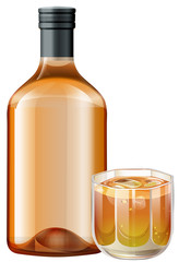 Whisky in glass and bottle