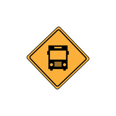 Bus stop road sign