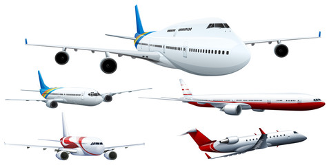 Five designs of airplanes