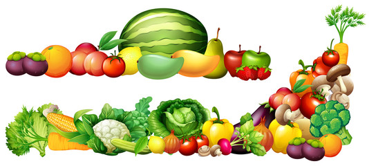 Pile of fresh vegetables and fruits