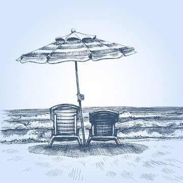 Sunbeds and umbrella on the beach. Summer holiday drawing