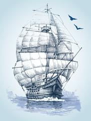 Boat on sea drawing. Sailboat vector sketch
