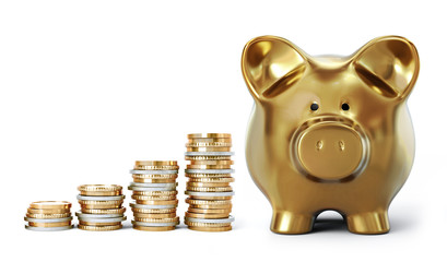Coin stacks with golden piggy bank in ascending order