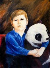 Oil painting. Portrait of boy with toy panda