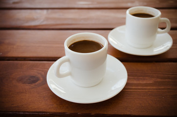 Two cups of turkish coffee on the table